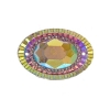 Resin Sew-on Piikki Stones 10pcs 20x30mm Oval Pink Aurora Borealis